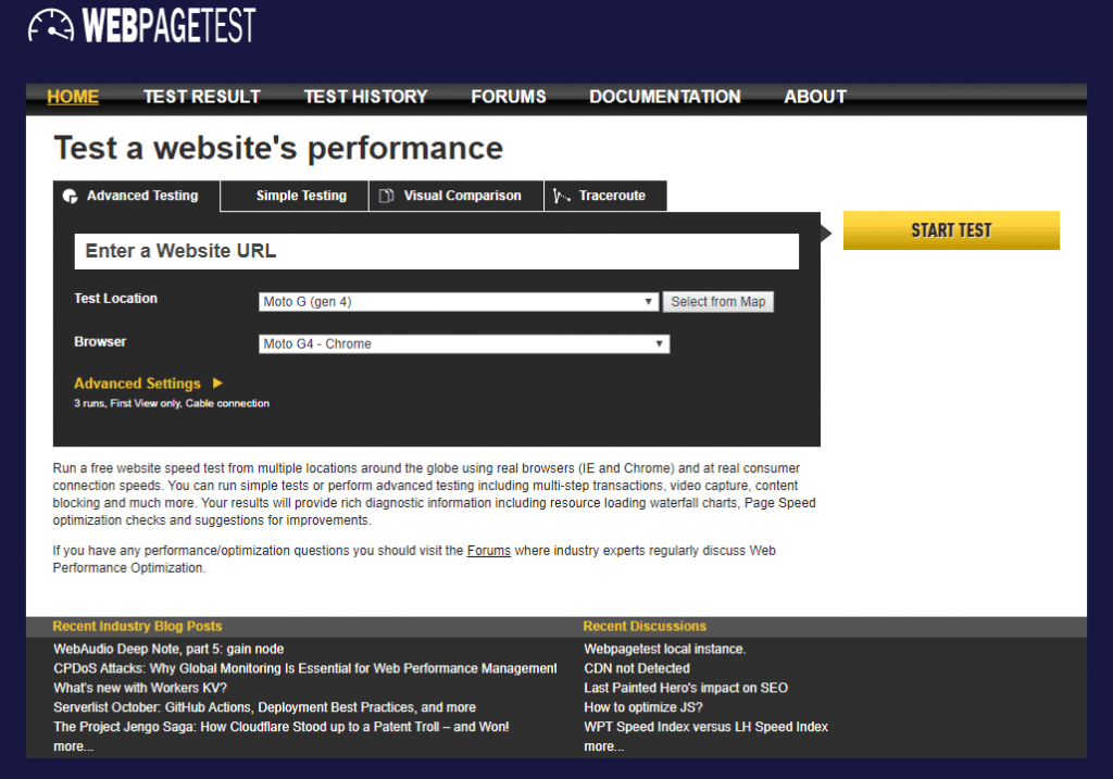 WebPagetest website speed test