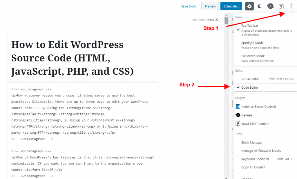 edit a post on html using gutenberg editor